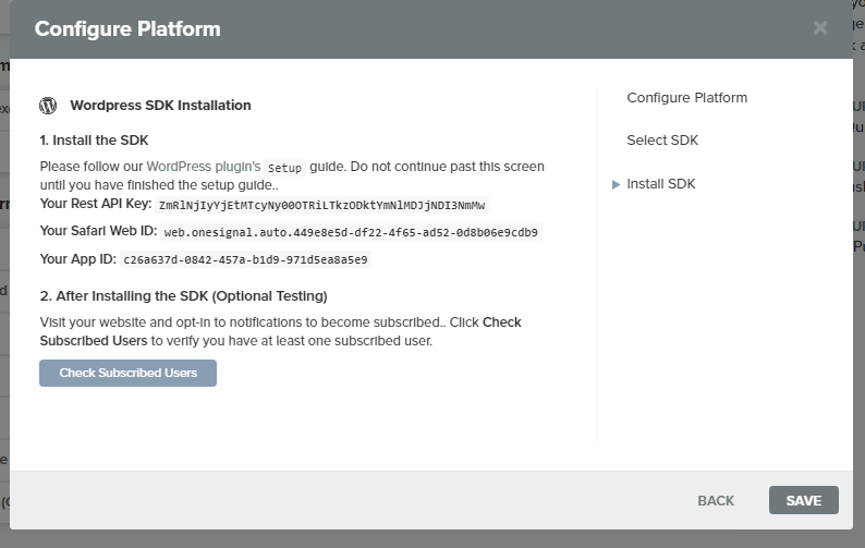 configure plateform push notification