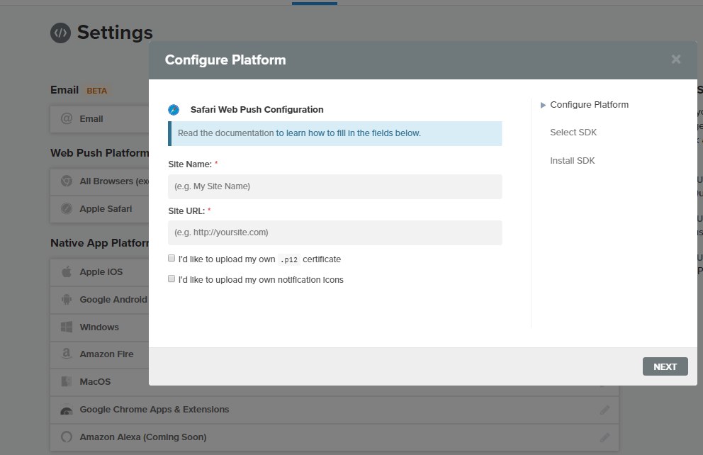 configure push plateform