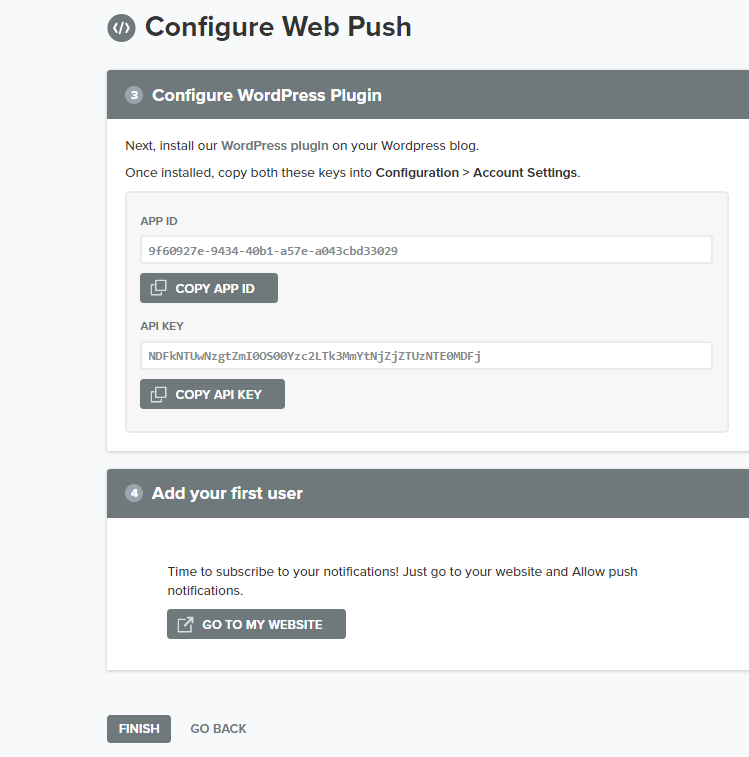 web push configure
